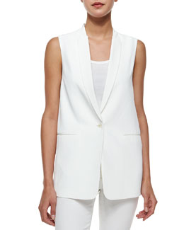 J Brand Ready to Wear Padella Single-Button Vest, White