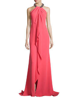 Carmen Marc Valvo Beaded-Neck Draped-Front Toga Gown, Coral