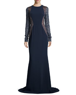 Carmen Marc Valvo Lace-Sleeve Crepe Gown, Midnight/Nude