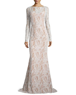 Carmen Marc Valvo Long-Sleeve Bateau-Neck Lace Gown, Ivory/Nude