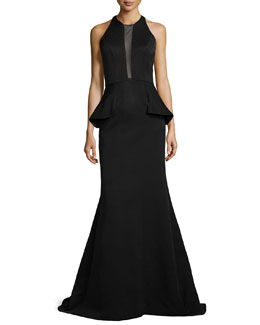 Carmen Marc Valvo Sheer-Inset Peplum Mermaid Gown
