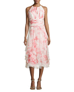 Carmen Marc Valvo Sleeveless Floral-Print Tiered Cocktail Dress