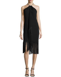 Carmen Marc Valvo Sleeveless Halter Toga Cocktail Dress W/ Fringe