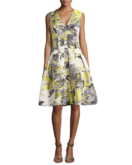 Carmen Marc Valvo Floral-Print Sleeveless Party Dress, Citrus