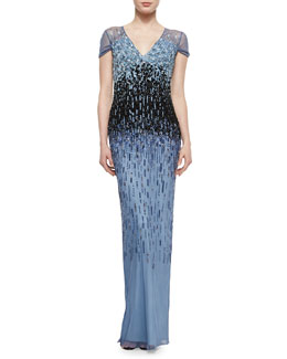 Pamella Roland Ombre Graduated Sequined Gown, Light Blue/ Navy Blue