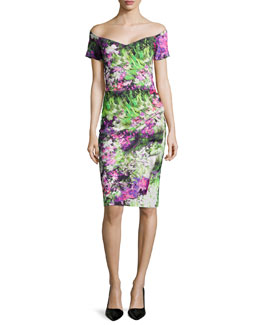 La Petite Robe di Chiara Boni Claretta Floral-Print Off-the-Shoulder Ruched Dress