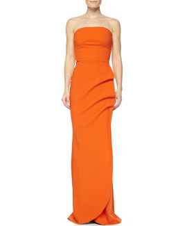 La Petite Robe di Chiara Boni Clotilde Halter Column Gown, Orange