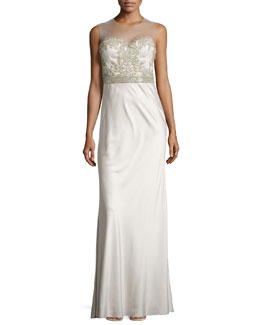Catherine Deane Beaded Illusion-Neck Gown, Opal Gray
