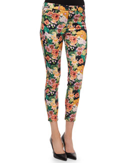 Cropped Floral-Tropics-Print Skinny Jeans