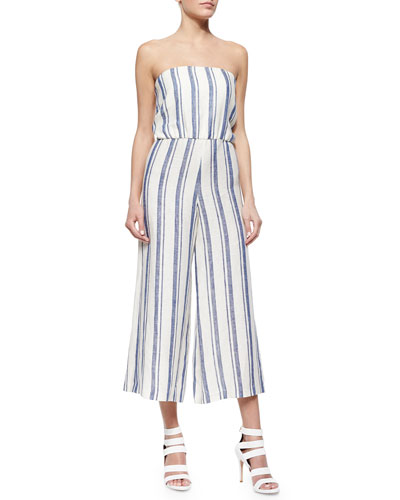 Lucie Striped Strapless Wide-Leg Linen Jumpsuit