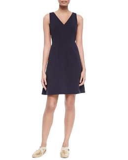 Tory Burch Sleeveless V-Neck Fit & Flare Dress