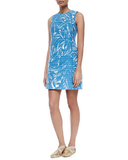 Tory Burch Corded Cotton/Linen Palm-Print Dress
