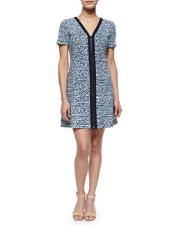 Tory Burch Geometric-Print Zip-Front Ponte Dress