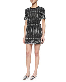 Tory Burch Graphic-Print T-Shirt Sheath Dress, Black/White