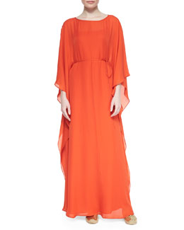 Tory Burch Kelby Silk Georgette Caftan, Orange