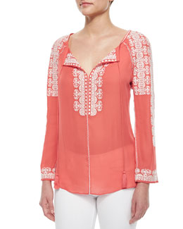 Tory Burch Tie-Neck Long-Sleeve Embroidered Silk Tunic