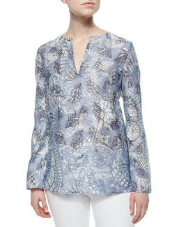 Tory Burch Textured Print Long-Sleeve Tunic