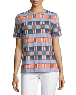 Tory Burch Short-Sleeve Mixed-Block Printed Tee