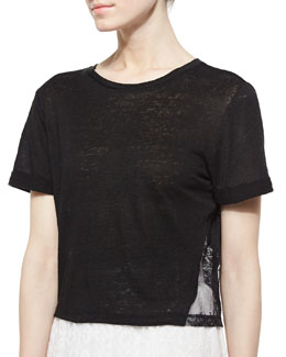 Alice + Olivia Lace-Panel Roll-Cuff Tee