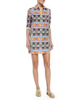 Tory Burch Long-Sleeve Geometric-Print Tunic