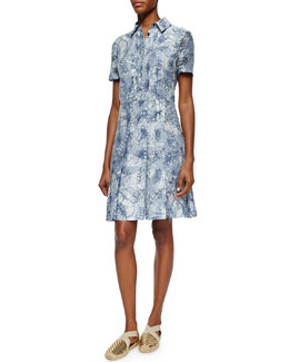 Tory Burch Short-Sleeve Textured Jacquard Shirtdress