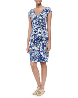 Tory Burch New Matte Jersey Printed Dress