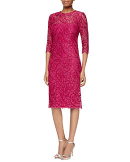 Kalinka 3/4-Sleeve Lace Sheath Dress, Hot Pink
