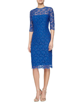 Kalinka 3/4-Sleeve Lace Sheath Dress, Royal Blue