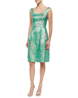 Kalinka Sleeveless Scoop-Neck Brocade Cocktail Dress