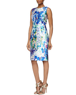 Kalinka Sleeveless Floral-Print Sheath Dress
