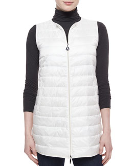 Stripe-Quilted Long Vest, White