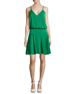 Milly Crepe Racerback Dress, Emerald