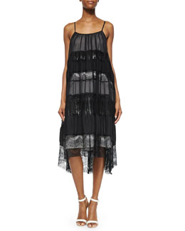 Alice + Olivia Dejas Pleated Trapeze Dress, Black