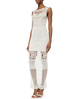 Alice + Olivia Amari Crochet Long Dress, Cream