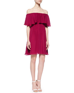 Alice + Olivia Dora Off-the-Shoulder Ruffle-Top Dress, Cranberry