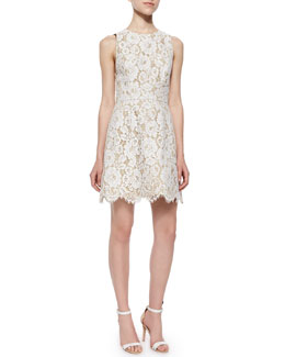 Alice + Olivia Leann Sleeveless Lace Dress, Cream