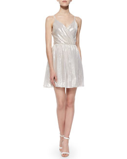 Alice + Olivia Livvy Lamé Open-Back Dress, Metallic Gray