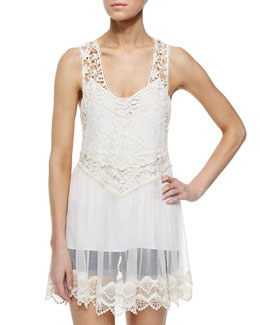 Alice + Olivia Jayla Sheer-Lace Racerback Top, Cream