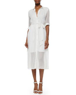 Alice + Olivia Maia Belted Voile Shirtdress, Ivory