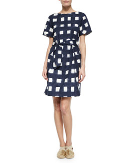 Tory Burch Tie-Front Poplin Square Dress, Navy/White