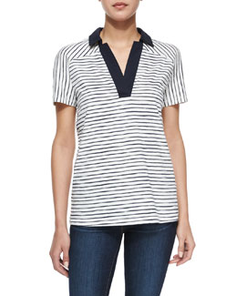 Tory Burch Grid-Graphic Logo-Print Tee, Blue