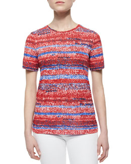 Tory Burch Short-Sleeve Knit-Print Jersey Tee, Brilliant Red