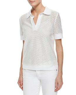 Tory Burch Short-Sleeve Eyelet Polo Shirt, White