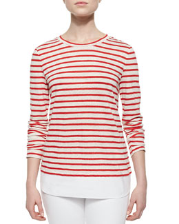 Tory Burch Striped Linen Jersey Tee, Red/White/Pink