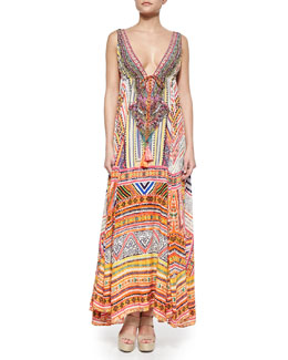 Camilla Through Threads Mixed-Print Maxi Dress