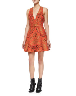 Alice + Olivia Mollie Brocade Fit-and-Flare Dress