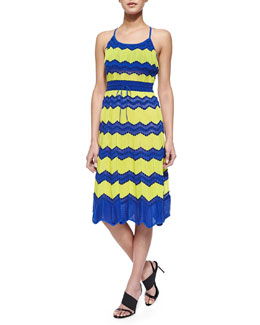M Missoni Tie-Back Dotted Wave-Print Sundress