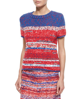 Tory Burch Short-Sleeve Mercerized Cotton Pullover