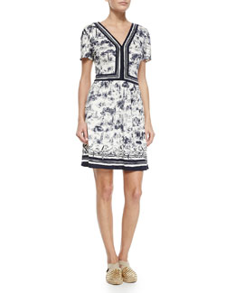 Tory Burch Floral V-Neck Sheath Dress, Blue/White