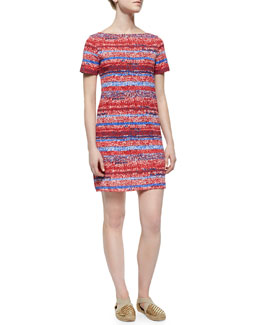 Tory Burch Short-Sleeve Striped T-Shirt Dress, Red/Multicolor